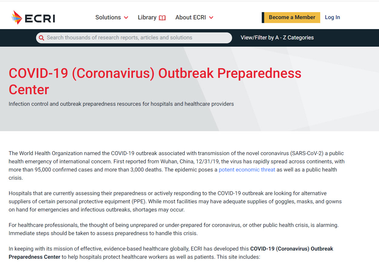 ECRI COVID-19 Outbreak Preparation Center