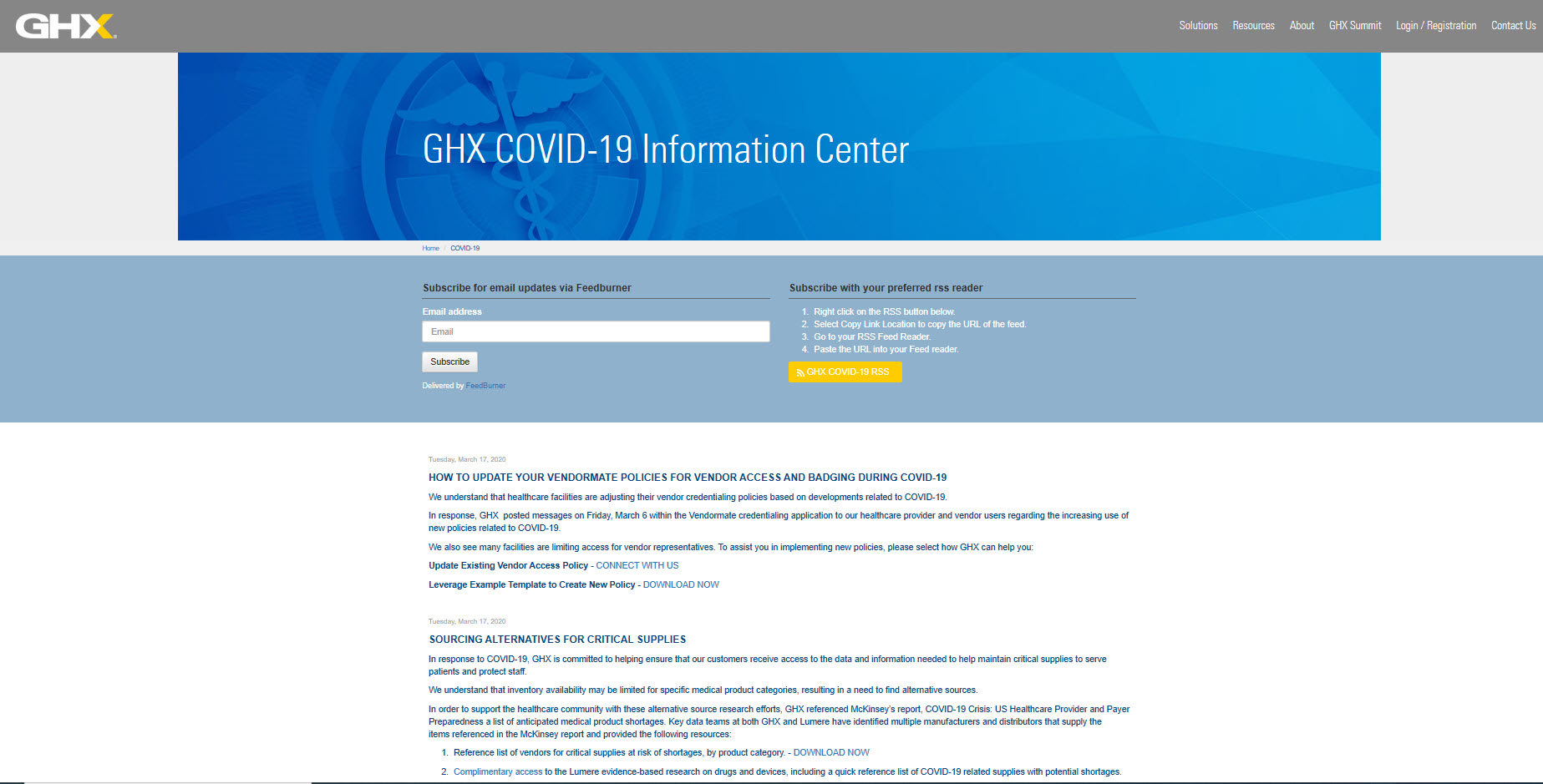 GHX COVID-19 Information Center