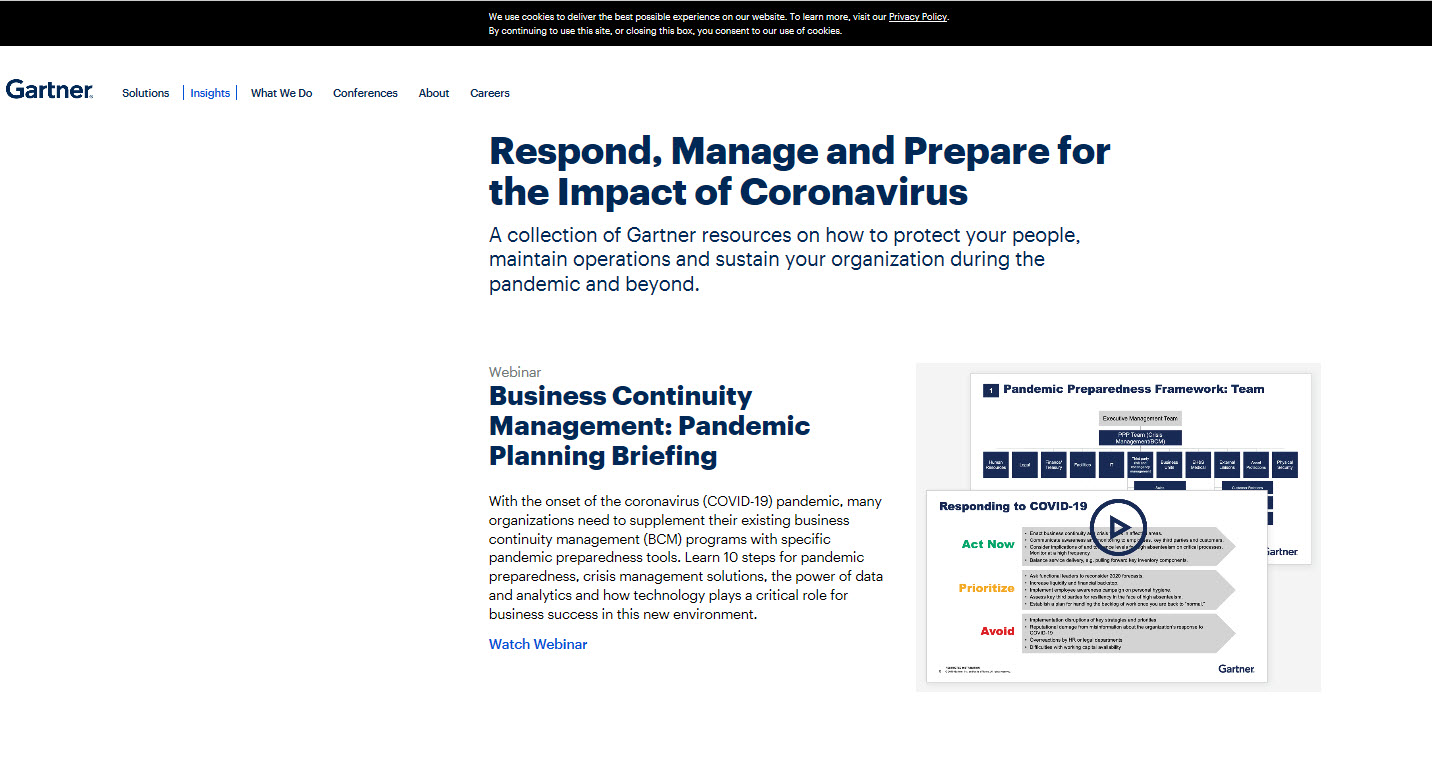 Gartner - COVID-19 Resource Center with Webinar Recordings