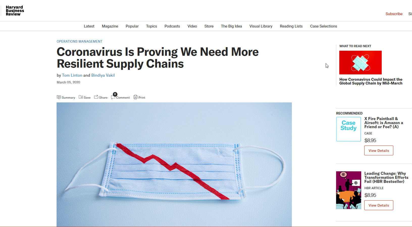 Harvard Business Review Article:   Coronavirus is Proving We Need More Resilient Supply Chains