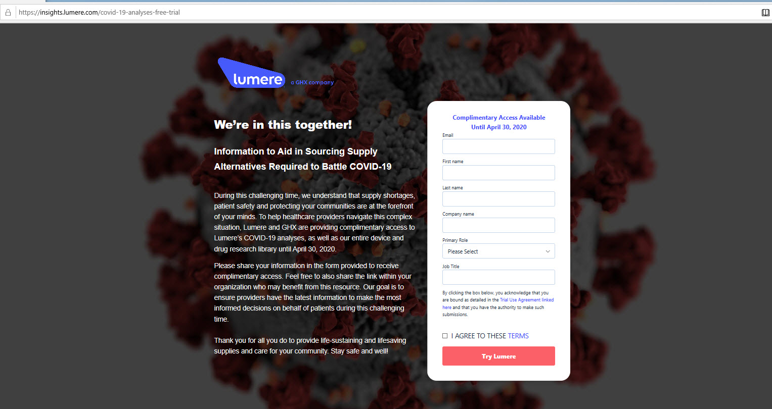Lumere - FREE TRIAL - Information to Aid in Sourcing Supply Alternatives Required to Battle COVID-19