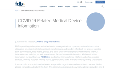 COVID-19 Related Medical Device Information from First Databank (FDB)